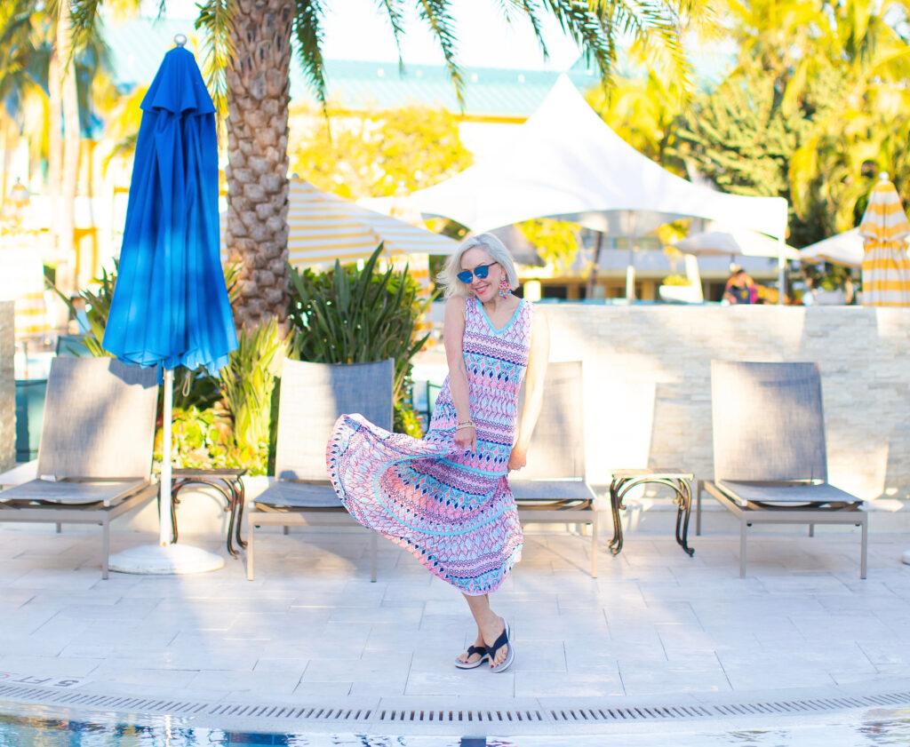 Sheree Frede of the SheShe Show wearing Cabana Life UPF clothing, maxidress