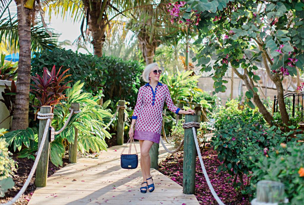 Sheree Frede of the SheShe Show wearing Cabana Life UPF clothing, knee lenth dress