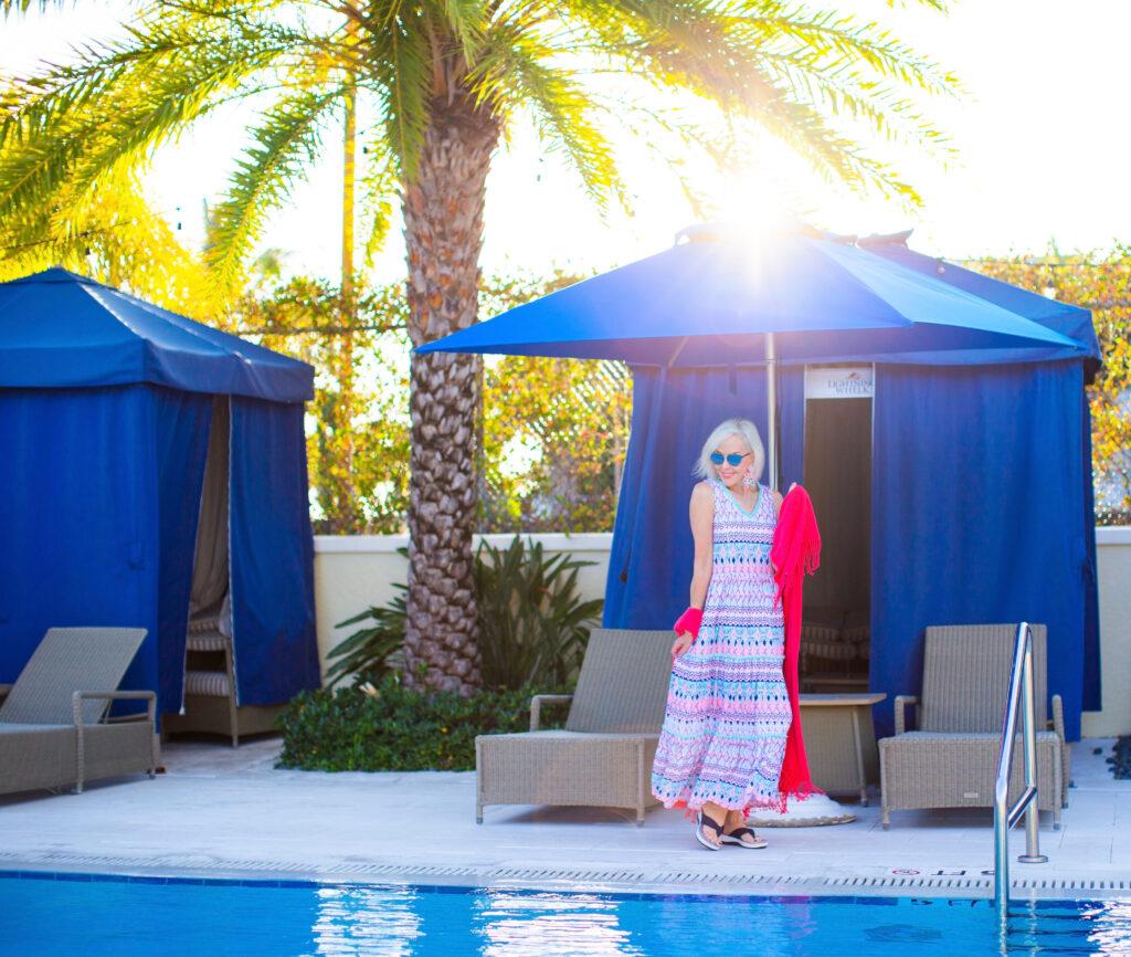 Sheree Frede of the SheShe Show wearing Cabana Life UPF clothing, Maxi dress