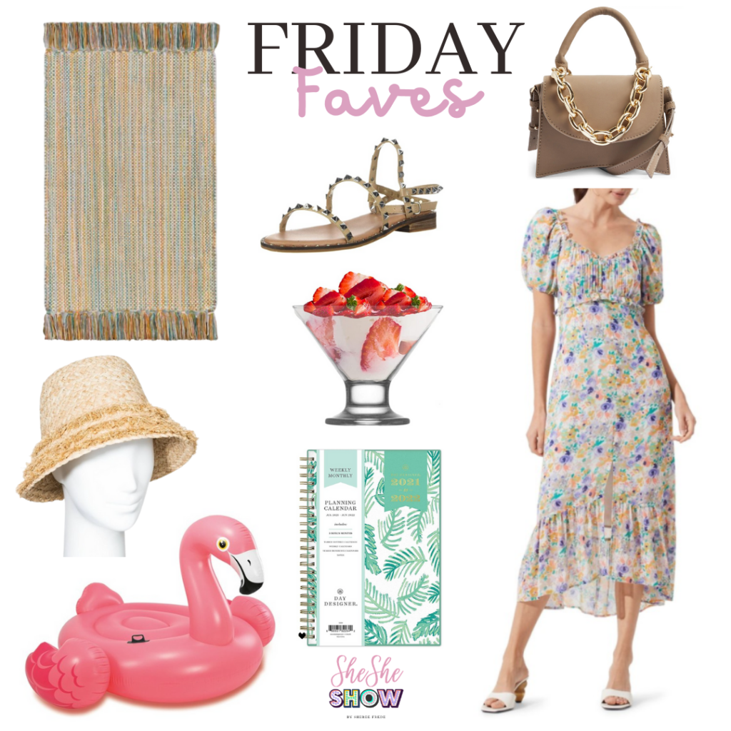 Friday Faves Collage with pool float, floral dress, wine colored mini handbag, fringe colorful rug, studded sandals, straw bucket hat and day planner