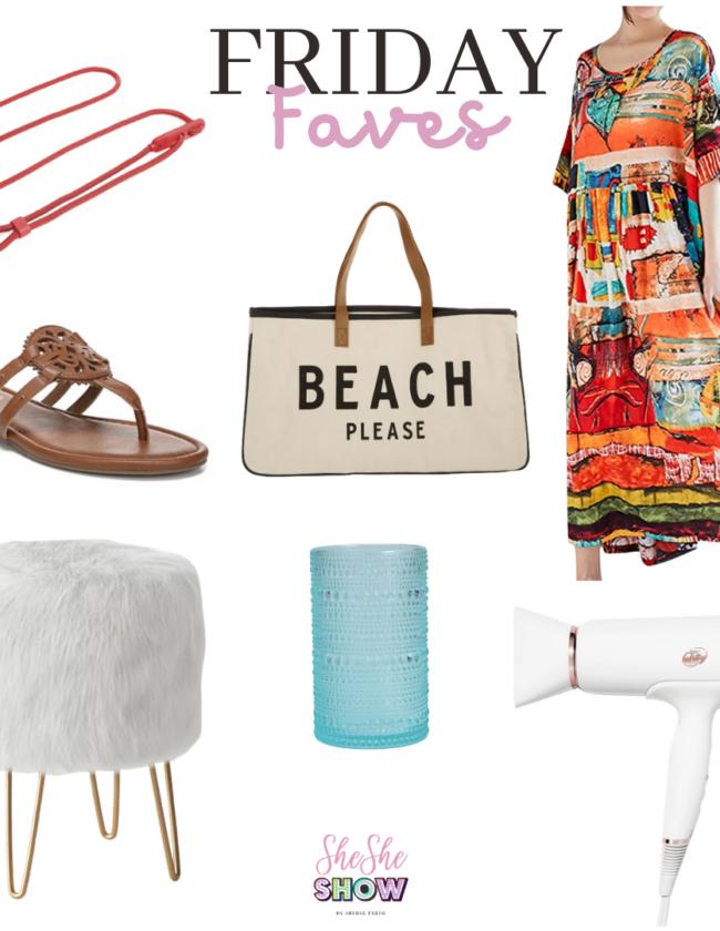 dog leash, beach tote, maxi dress, poof stool, hair dryer