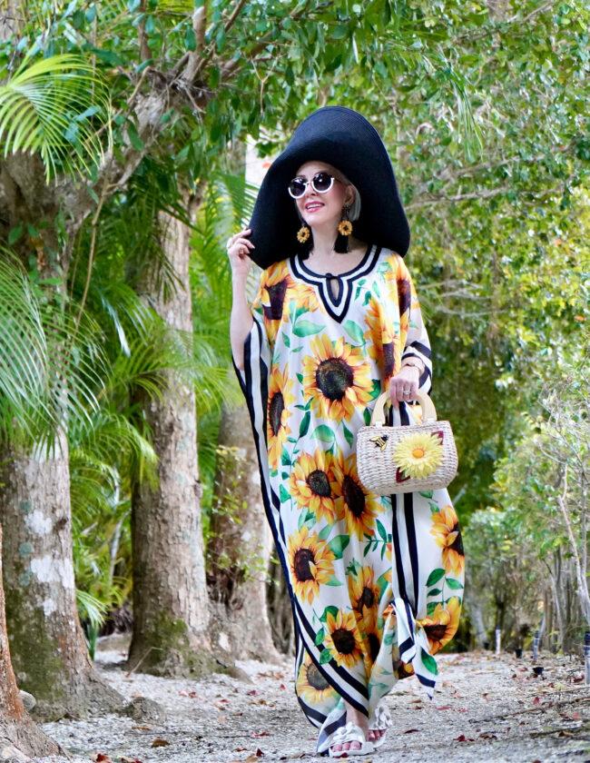 Sunflower Kaftan, black hat, SheShe Show, Sheree Frede