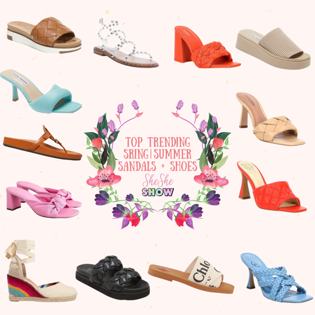 Collage of trending sandals and shoes for spring summer 2021