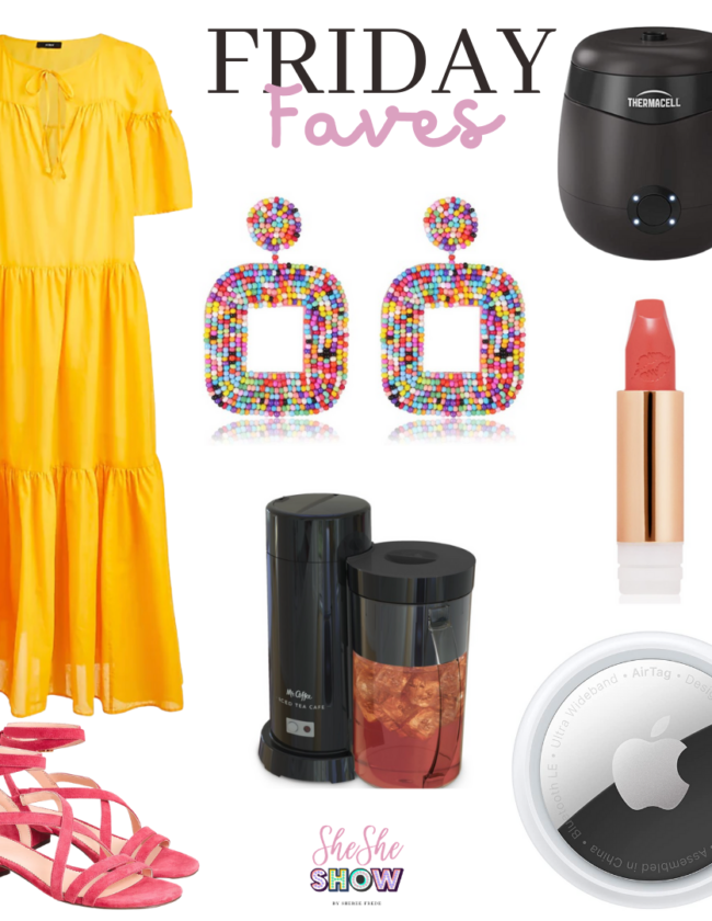friday faves collage with dress, earrings, strappy heels, iced cofee maker, apple air tag