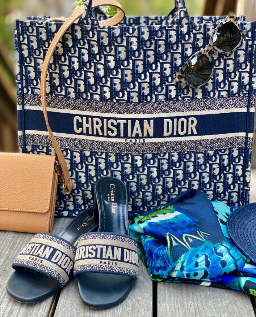 Christian Dior Bag and slide sandals,boat hat , scarf, and wallet bag