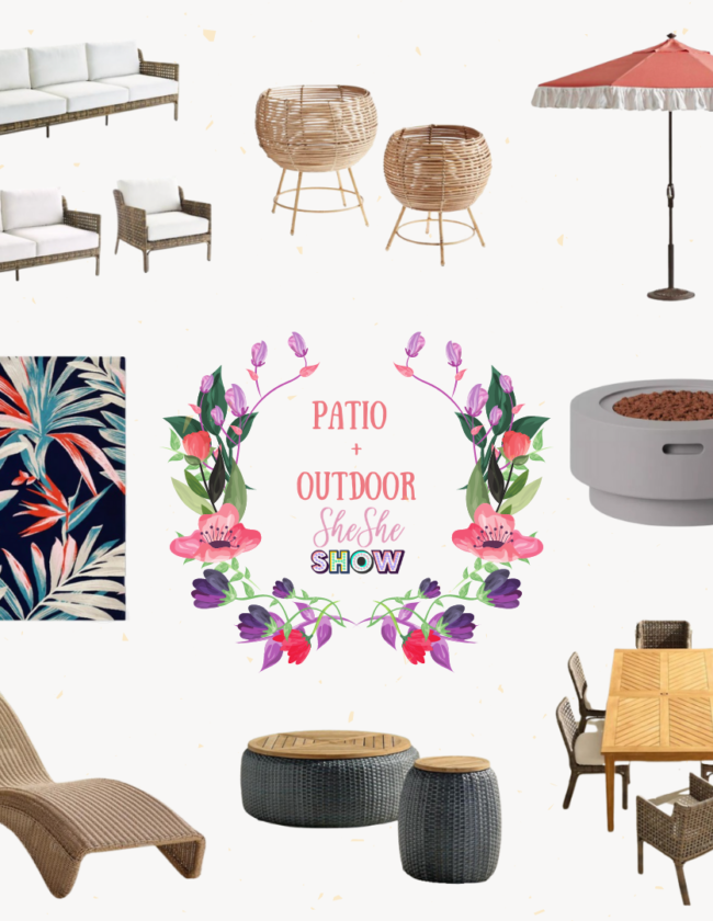 A collage for friday faves on shesheshow.com of patio + outdoor must-haves.