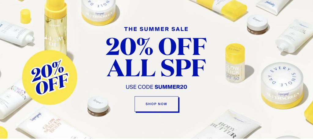 banner for Supergoop 20% off sale