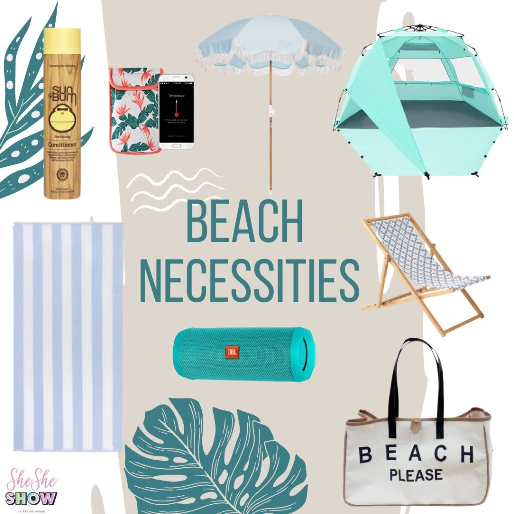 a collage of beach necessities