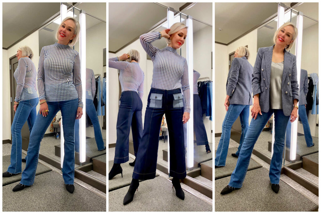Sheree Frede of the SheShe Show wearing jeans top and blazer, 3 photos