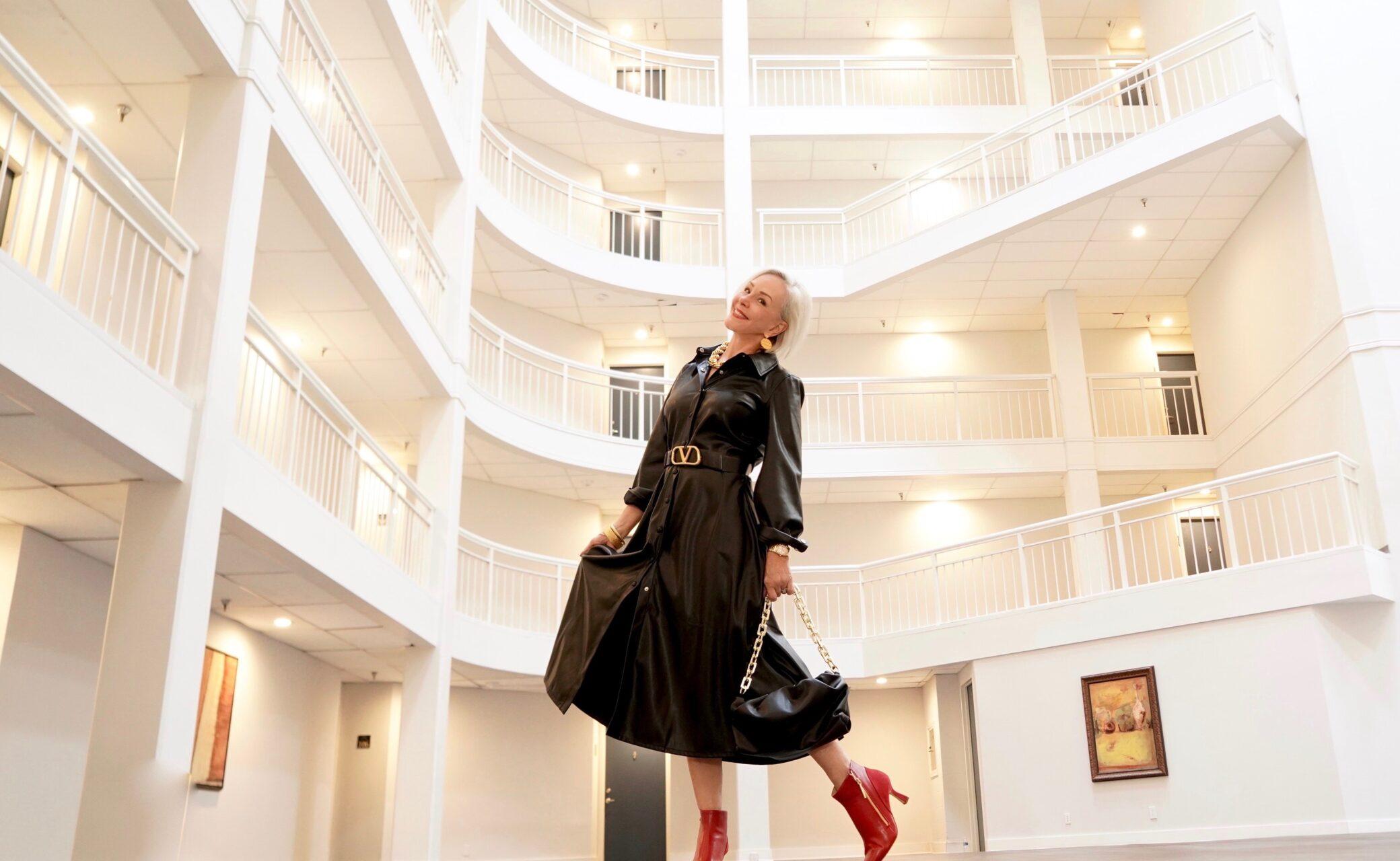 Faux Leather Swing Dress