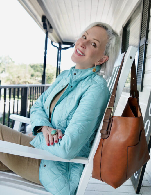 Sheree Frede wearing Appleseed's fall collection